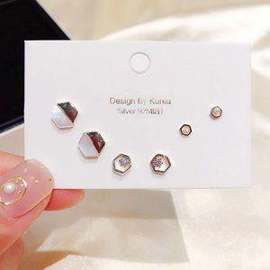 [3 Pairs] 925 Sterling Silver Diamond Earrings D